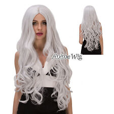 Curly 80CM Silver White FAIRY TAIL Long Anime Cosplay Mirajane Strauss Wigs