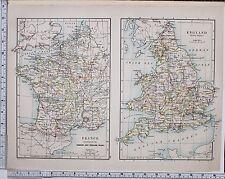 1889 LARGE ANTIQUE HISTORICAL MAP ~ FRANCE FRENCH & ENGLISH WAR ~ ENGLAND TUDOR
