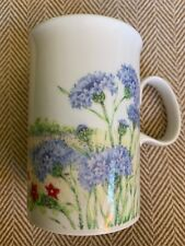 DUNOON Fine White Mug Cup with Spring Summer Blue Purple Red Yellow Flowers