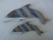 Pair Of Wooden Dolphins Wall Art Driftwood Handmade FREE POST  Home Decor Fish