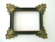 ANTIQUE EMBOSSED BRASS ORNATE DECORATIVE CORNERS WOOD PICTURE PHOTO WALL FRAME