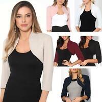 Womens Tailored Bolero Shrug Cropped Top Short Sleeve Party Blazer Jacket Coat