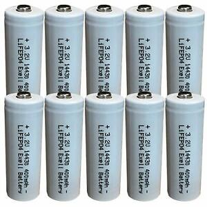 (10-Pack) Exell Battery 3.2V Li-FePO4 Size 14430 (14 x 43mm) 400mAh Rechargeable
