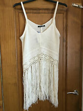 Cream crochet knit vest top/tunic - SIZE 14 - Festival/beach - tassle hem