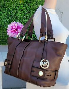 Michael Kors Harness chestnut brown Leather 2 WAY grab bag shoulder purse tote