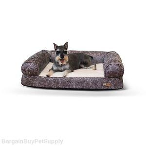 KH Mfg Memory Foam Orthopedic Faux Leather Dog Pet Sofa Bed Gray Medium KH4258