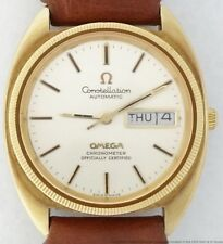 Omega Constellation Day Date Chronometer Huge 1970s Wrist Watch Gold over Steel