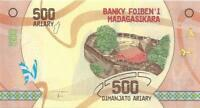 MADAGASCAR 500 Ariary 🌎💴 UNC; P-99; 2017; Polymer 💴🌎🦋 Butterflies  🦋Cliff