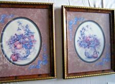 F Buckley Framed and Matted Art Print Fruit in Teapot Mauve Blue set of 2