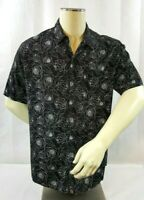 Lularoe Michael Men's Button Down Shirt Size M Black Roses Floral Hawaiian Tiki