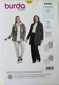 Burda 6393 Womens Plus Jackets Veste Chaqueta Sewing Pattern Sz 20-30