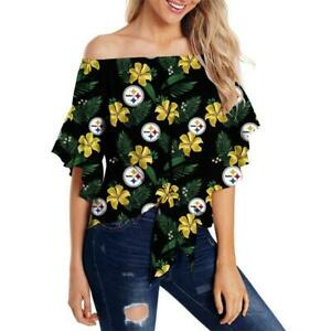 Pittsburgh Steelers Women Casual Cold Shoulder T Shirt Floral Blouse Loose Top