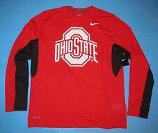NIKE OHIO STATE BUCKEYES Vapor L/S T-Shirt Men Size L Dri-Fit SIDELINE Red NWT