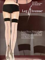 Sex y Lycra Sheer Striped Cuban Heel Seamed Stockings - Vintage Fully Fashioned