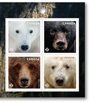 BEARS = Polar = Grizzly = Block of 4 = Right Booklet page Canada 2019 MNH VF