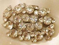 broche vintage couleur argent toute de solitaire cristaux diamant facette 4499