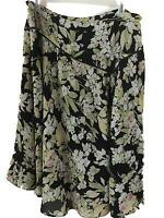 Emma James skirt size 16W stretch waist green black floral with lining polyester