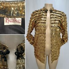 Vintage 80s HEIKE Gold Lame Metallic Disco Jacket Small Fringe NYE Party Costume