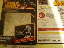 METAL EARTH 3D METAL KIT METAL A MONTER  DESTROYER DROID STAR WARS NEUF