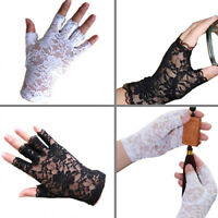 EC_ WOMEN PARTY SEXY DRESSY LACE GLOVES FINGERLESS BLACK WHITE MITTENS CLASSIC