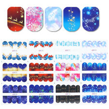12 Patterns Christmas Nail Art Water Decals Snowflakes Feather Transfer Stickers