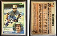 Ed Romero Signed 1983 Topps #271 Card Milwaukee Brewers Auto Autograph