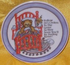 "Lucy & Me Get Well Dr's Orders 4"" Decorative Plate Teddy Bear Sick In Bed Rigg"