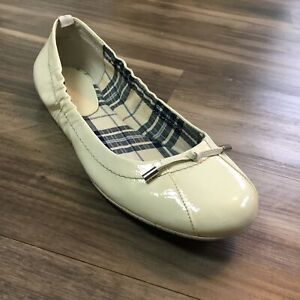 Women's Sperry Top-Sider Ballet Flats Shoes Size 8.5 Ivory Patent Leather B5