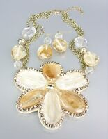 CHUNKY Clear Brown Metallic Lucite Flower Bib Drape Chains Necklace Set