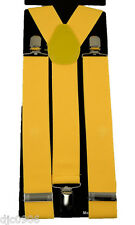 """THICK  1 1/2"""" YELLOW Adjustable Y-Style Back suspenders-Yellow Suspenders-New!"""