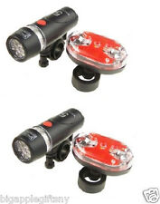 2 SETS Bright Bike Bicycle Lights Waterproof 5 LED Head Light + 9 LED Rear Light