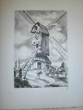 Gravure moulin a vent par P. Valade Nord Moulin Bottein Houymille Maison blanche