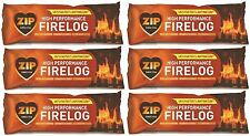 6 x Zip 3 In 1 Instant Fire Log Firelog Burner Fireplace Fuel Wood Stove 1kg