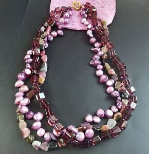 "22"" 3Rows,nugget Tourmaline,freshwater pearl,purple glass, gemstone necklace A3"