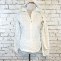 Athleta Women's White Striped Lightweight Full Zip Hoodie Windbreaker Size XS