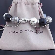 David Yurman Elements Black Onyx & Hematite Sterling Silver Bead Bracelet