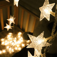 4M 40 LED Star Fairy String Curtain Light Wedding Party Home Garden Decor Lamp