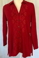 J.Jill Valentines Day womens size PM embroidered red button down tunic