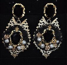 Authentic New Women's DOLCE & GABBANA Runway Baroque Crystal Pearl Clip Earrings