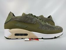 Nike Air Max 90 Ultra 2.0 Flyknit OLIVE GREEN WHITE BLACK ALL 875943-200 sz 11.5