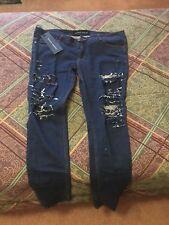 Men's Criminal Damage Distressed Ripped Skinny Jeans 36