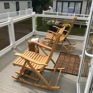 Bamboo Adjustable Lounge Rocking Swing Chair Sunbed Recliner Sun Lounge Patio