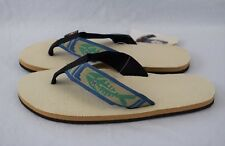 ba8a380f9251 Men s XL 11-12 RAINBOW Single Layer Hemp Fish Flip Flops NATURAL w GREEN  FISH