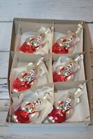 Set 6 Glass Christmas Ornaments Bears Made In Poland