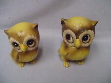 "Josef Pair Owls Japan & Josef Stickers 4"" & 3.75"" Tall Vintage"