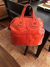 100% Authentic Red Embossed Croc Givenchy Nightingale Purse Bag Satchel EUC