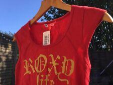 Roxy Life Red Cap Sleeve Tee Shirt Gold Text Beach Hoilday Surf sk8 skate beach