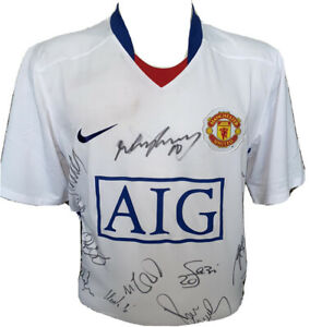 Signed Rare Manchester United 2008 09 Away Shirt Rooney Fletcher Scholes Giggs