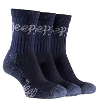 3 pairs Ladies Jeep Terrain Cushion sole Cotton Hiking Socks 4-7uk Navy Blue