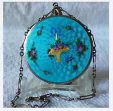 Antique Vtg Guilloche Enamel Wristlet Compact Blue w/ Golden Flower Basket Exc.